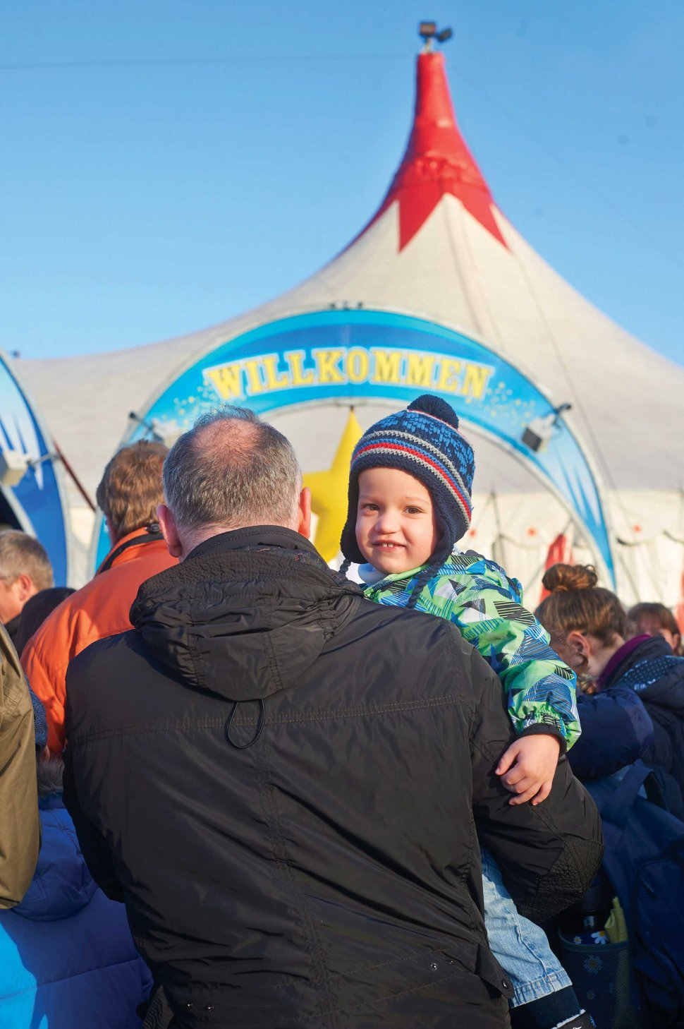 """Nico (2) from Niedernhall at the entrance of the """"Big Top"""" tent."""